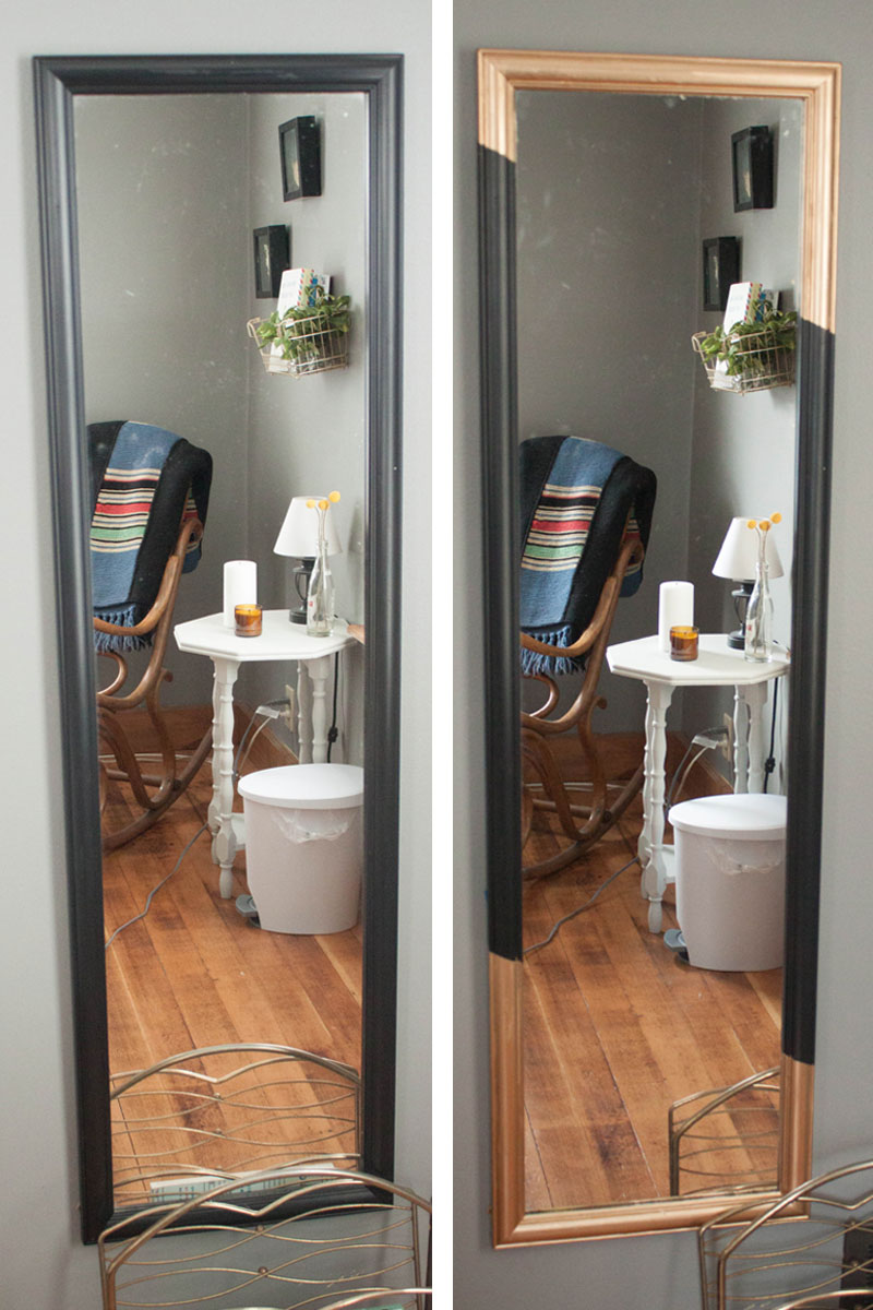 Before and after: Quick DIY gold leaf mirror upgrade