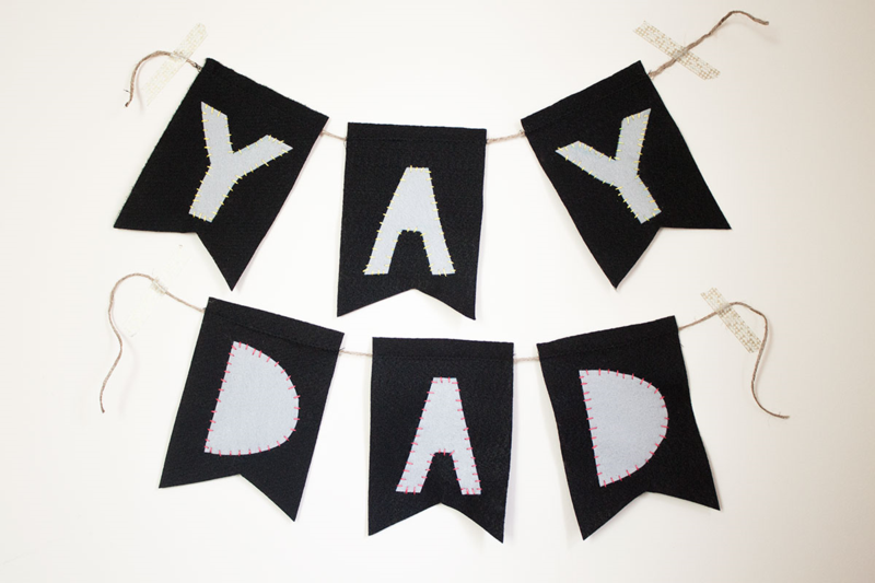 "Sew an easy ""Yay Dad"" felt banner to celebrate Father's Day!"