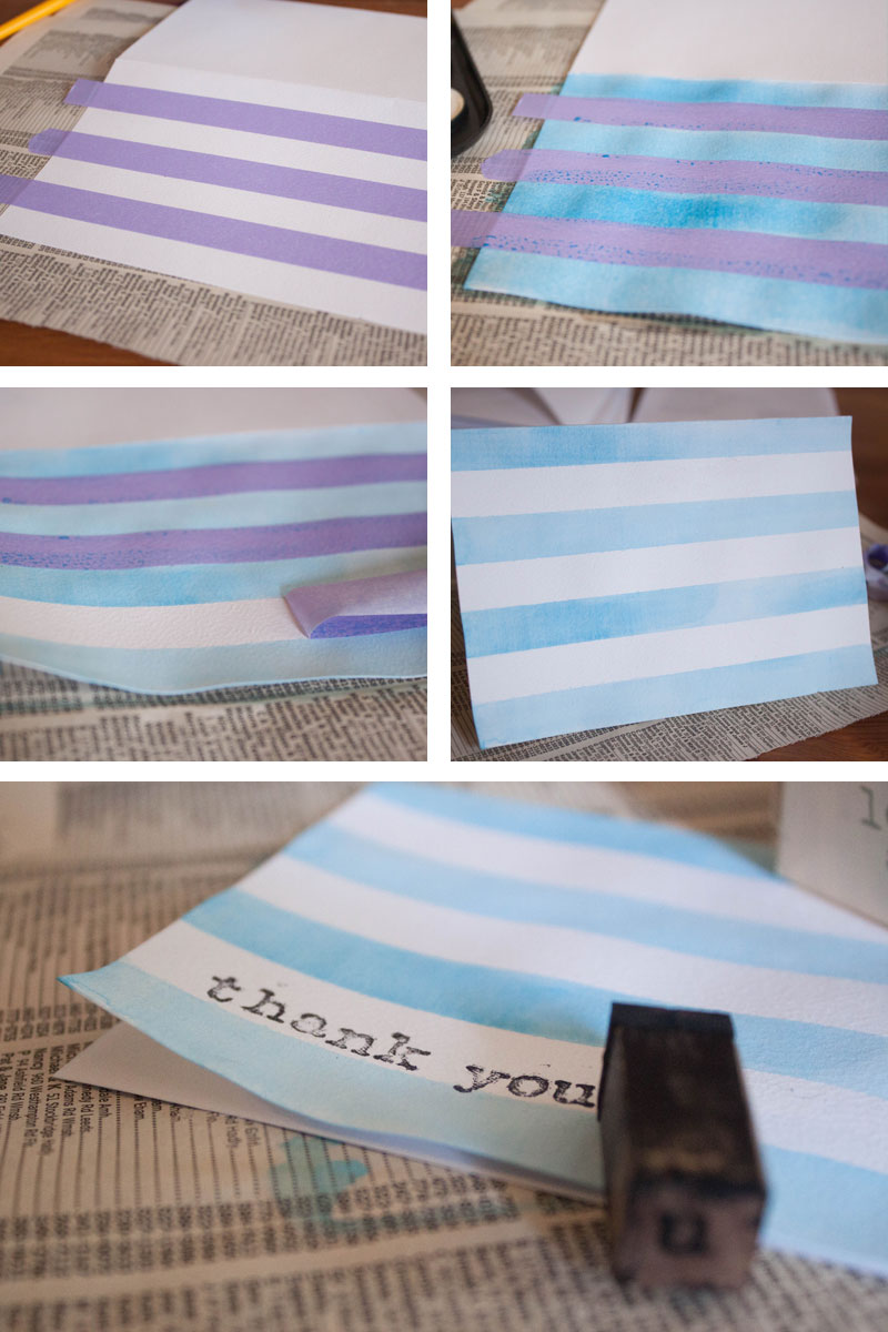 Easy DIY watercolor stripe cards