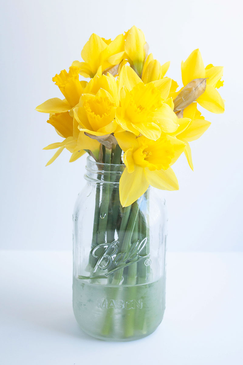 A large mason jar becomes a rustic vase with just a little etching cream