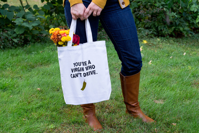 "Stencil this classic ""Clueless"" quote tote bag!"