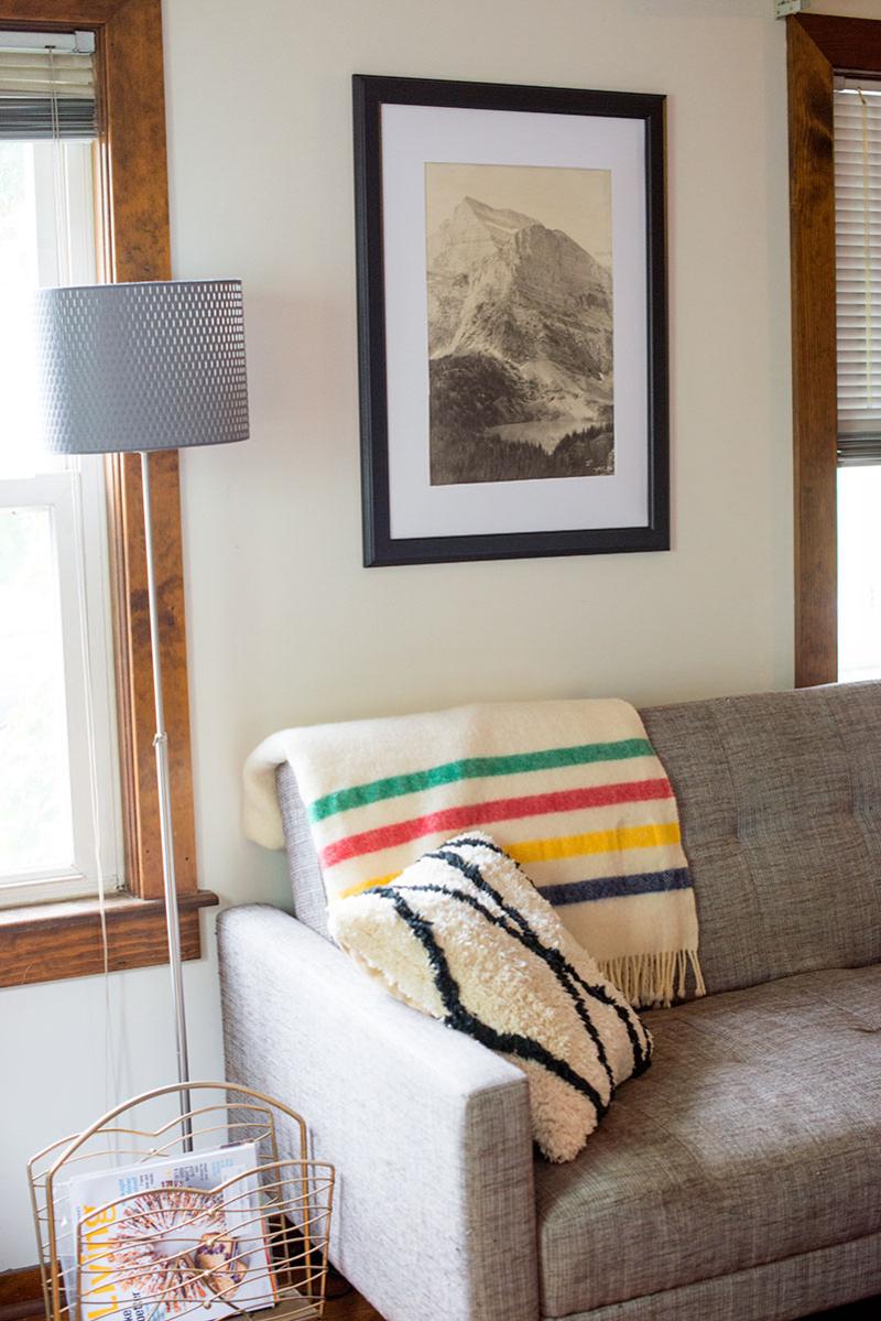 Minimalist, vintage living room
