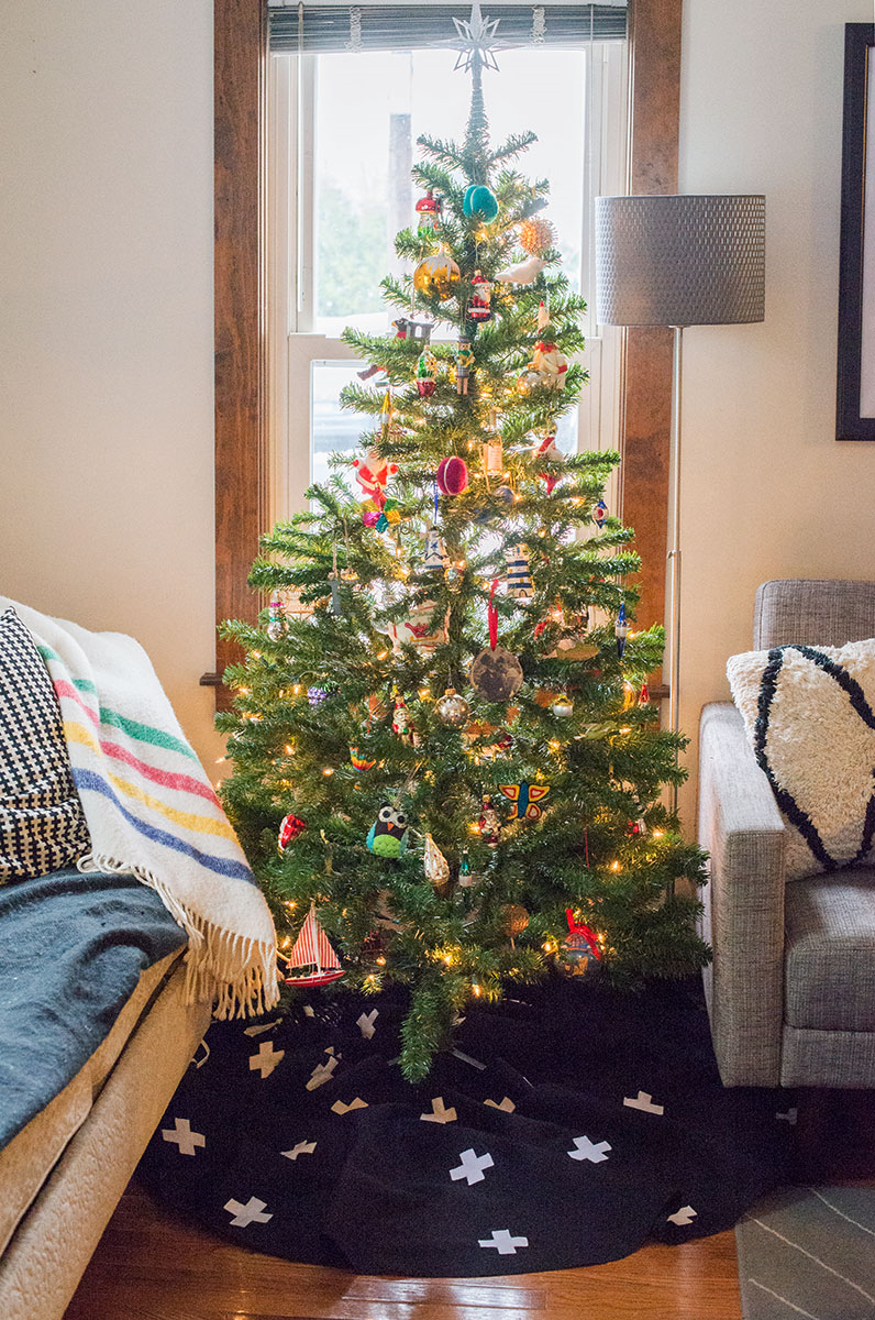 DIY Swiss cross Christmas tree skirt