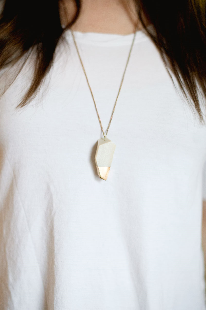 DIY geometric, gold-dipped pendant