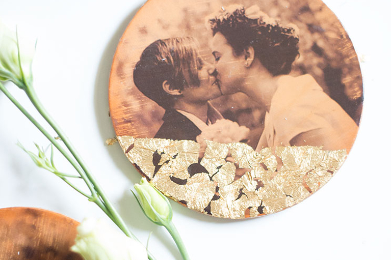 DIY photo transfer leather coasters