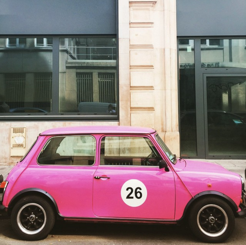 Pink car in Paris