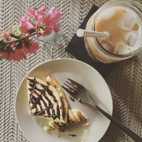 Crepes and iced coffee