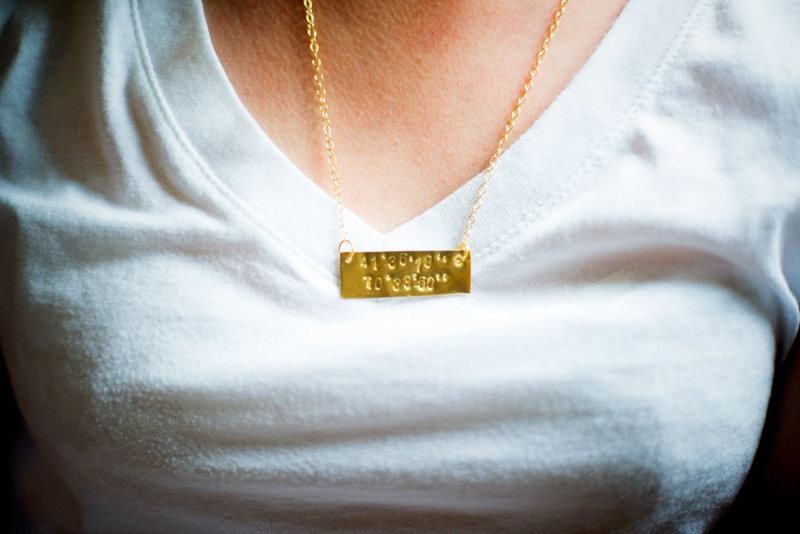 DIY metal stamped latitude/longitude necklace -- such a great way to remember a special place! (Pinning for later)