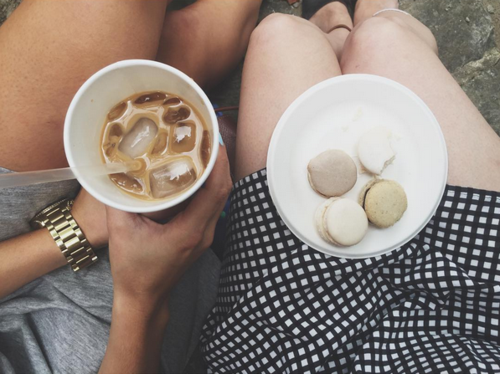 Iced coffee and French macarons