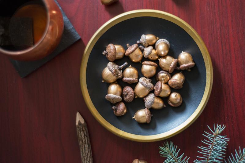 Quick & easy DIY fall decor...gold leafed acorns
