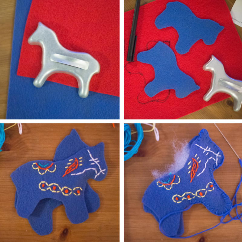 Stitch felt dala horse ornaments