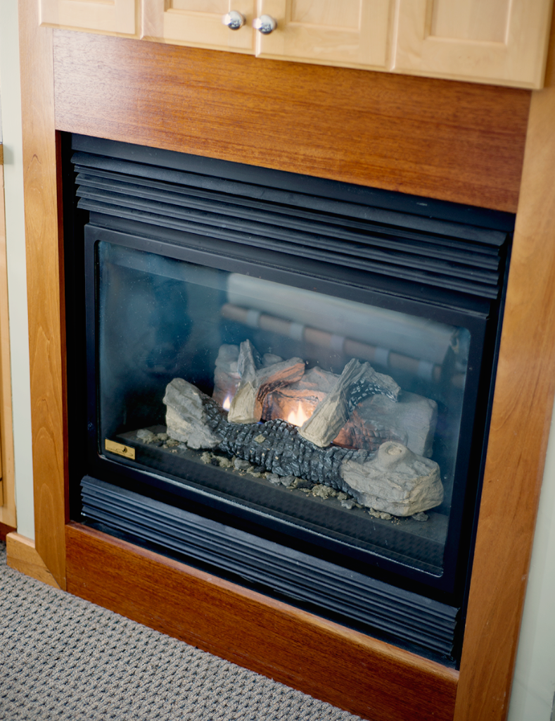 Fireplace in hotel room