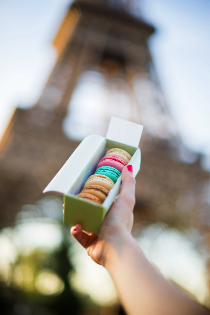 French macarons in front of the Eiffel Tower