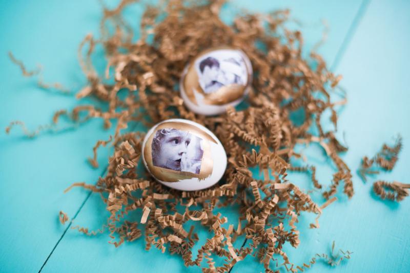 DIY photo transfer Easter eggs