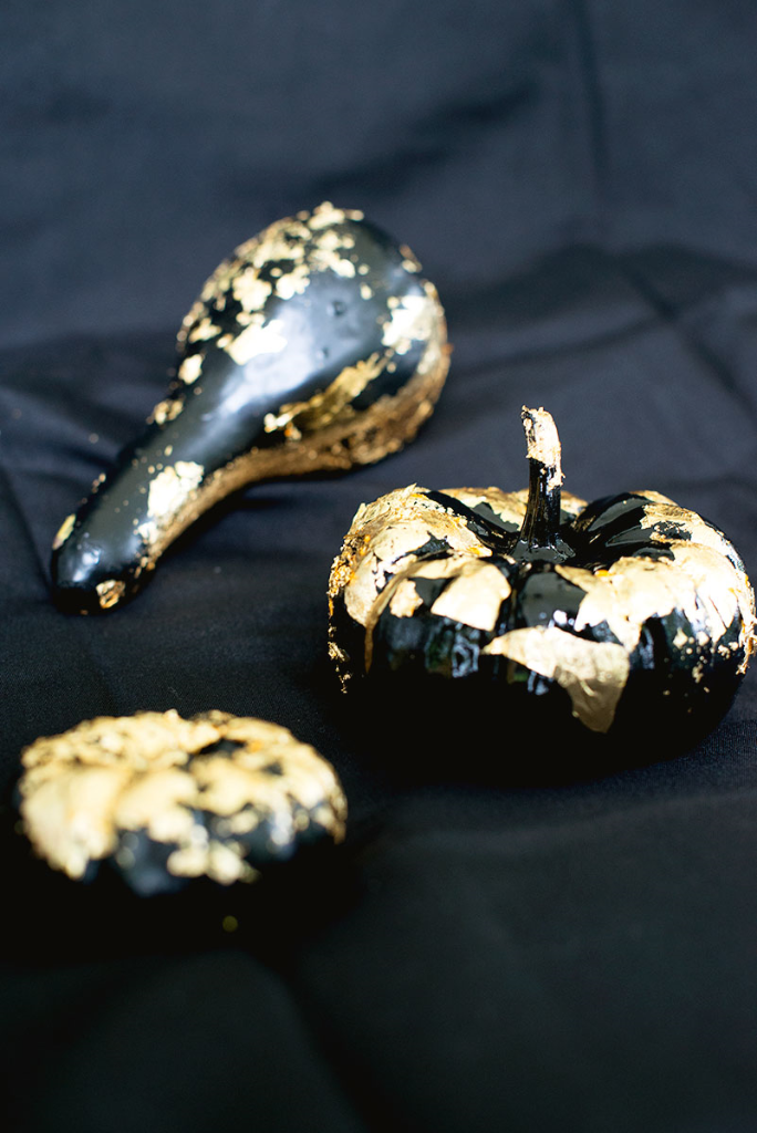 DIY gold leaf mini pumpkins