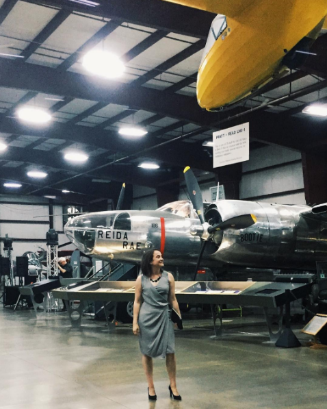 Wedding reception in an airplane museum