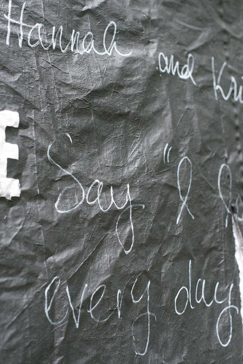 This DIY chalkboard photo backdrop doubles as a guestbook!