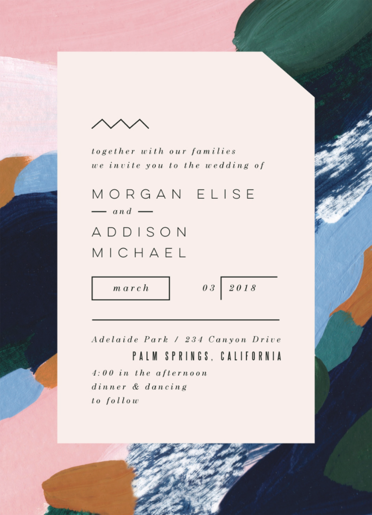 Modern abstract wedding invitations