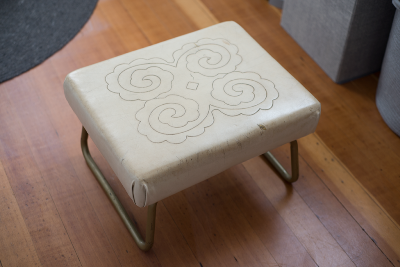 Reupholstering a flea market footstool (before)