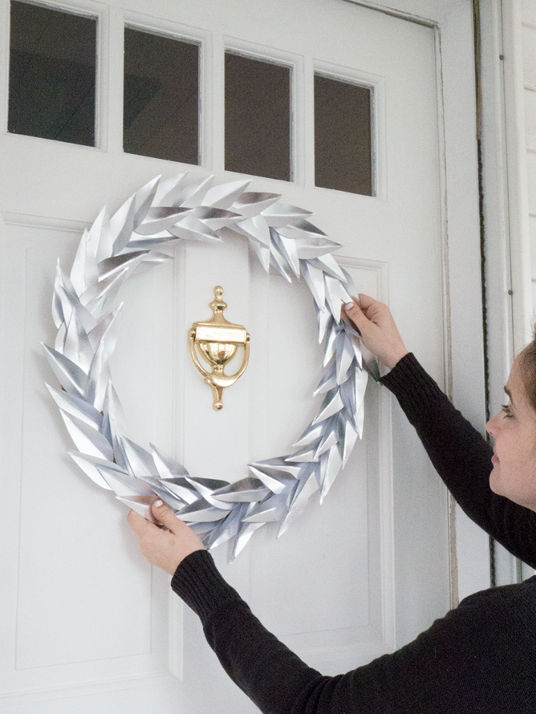 DIY metallic laurel paper wreath