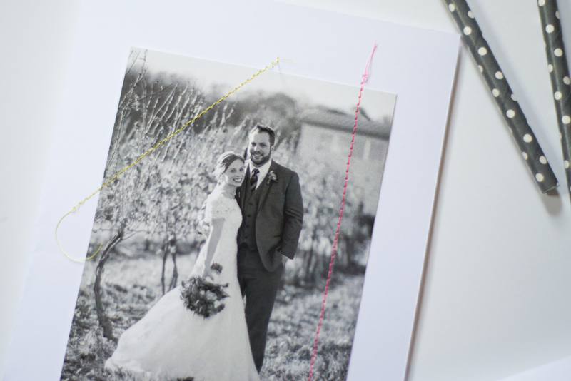 Make special stitched anniversary cards with neon highlights