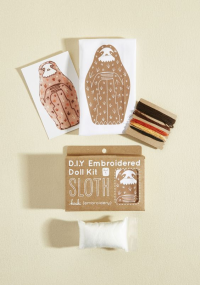 DIY embroidered sloth kit