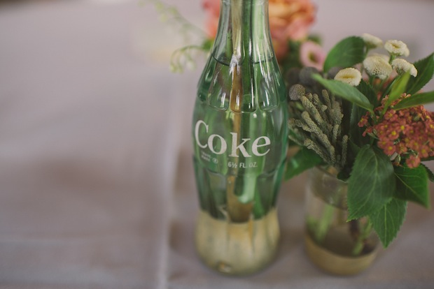 Gold-dipped vintage Coke bottles / Love + Perry Photography