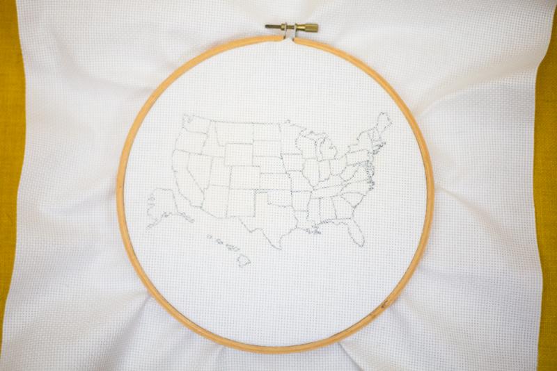 DIY cross stitch travel map