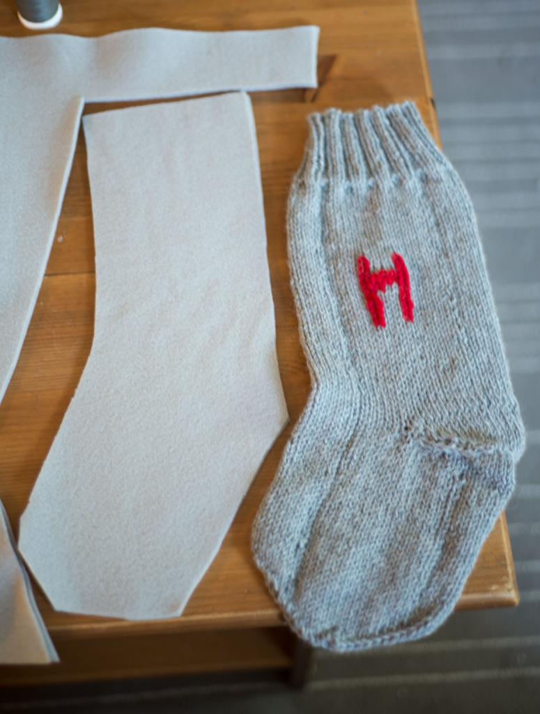 DIY knit monogram Christmas stocking
