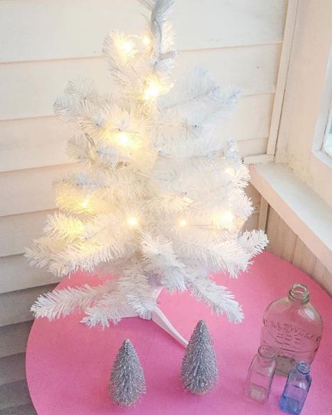 White pre-lit Christmas tree