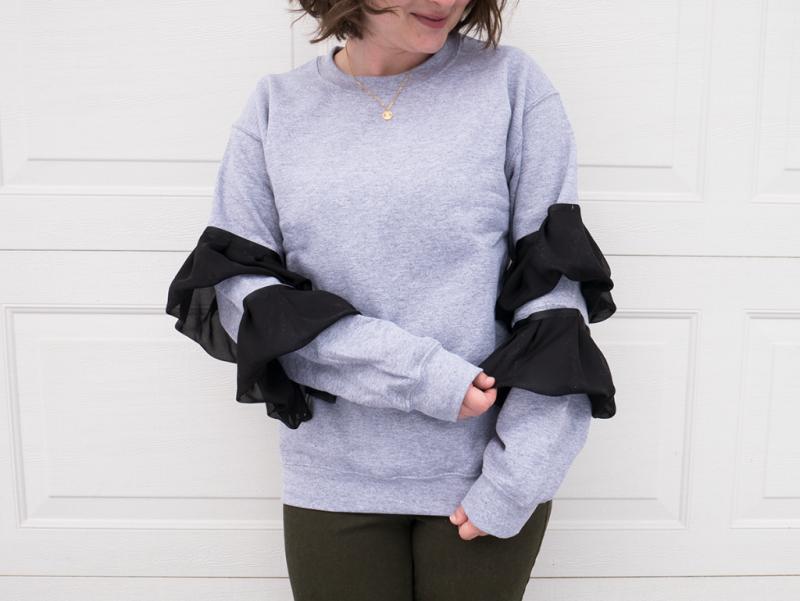 DIY no-sew ruffle sleeve sweatshirt