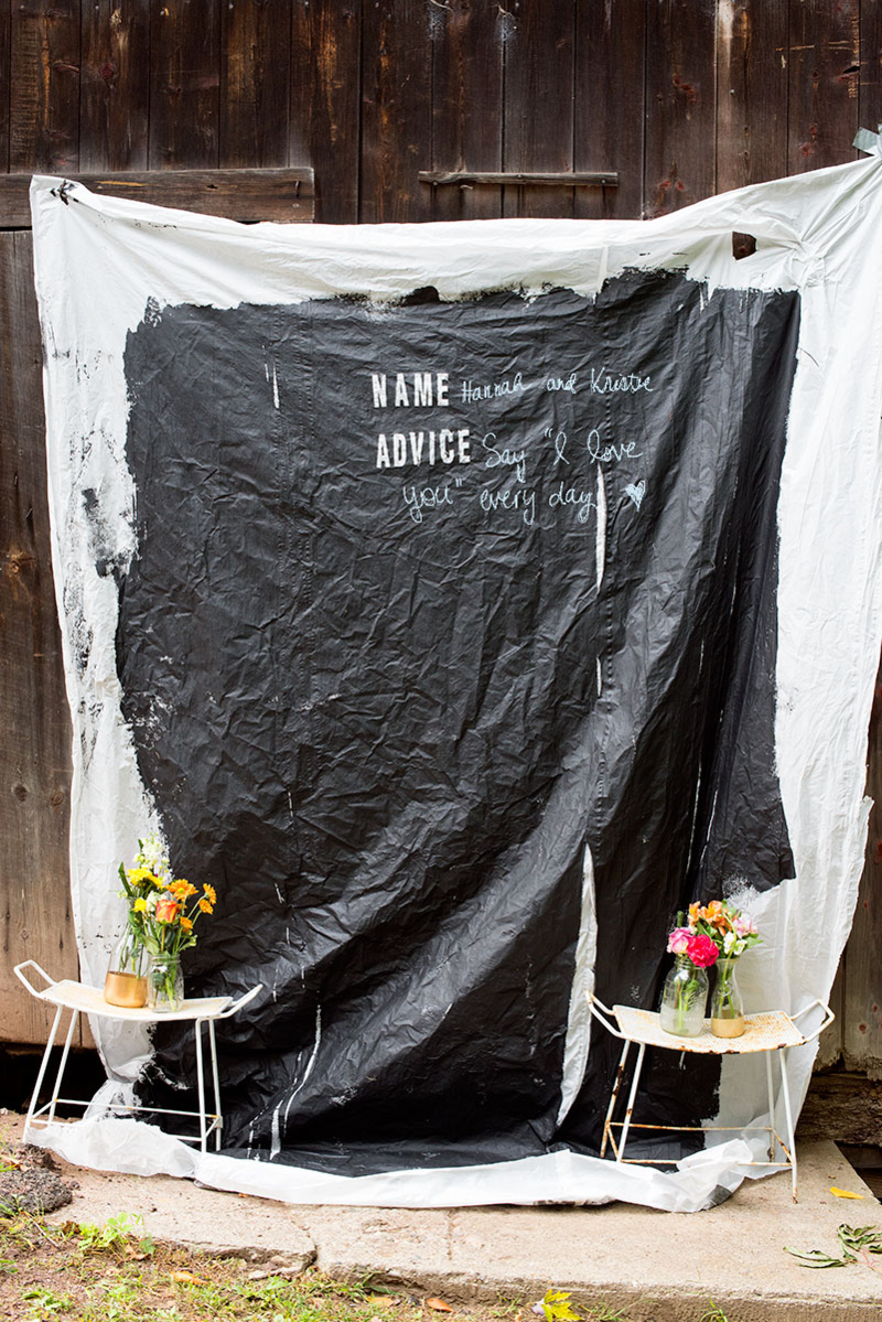 This DIY photo backdrop doubles as a guestbook!