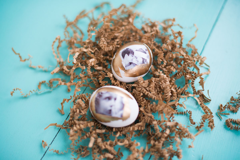 DIY photo transfer Easter eggs