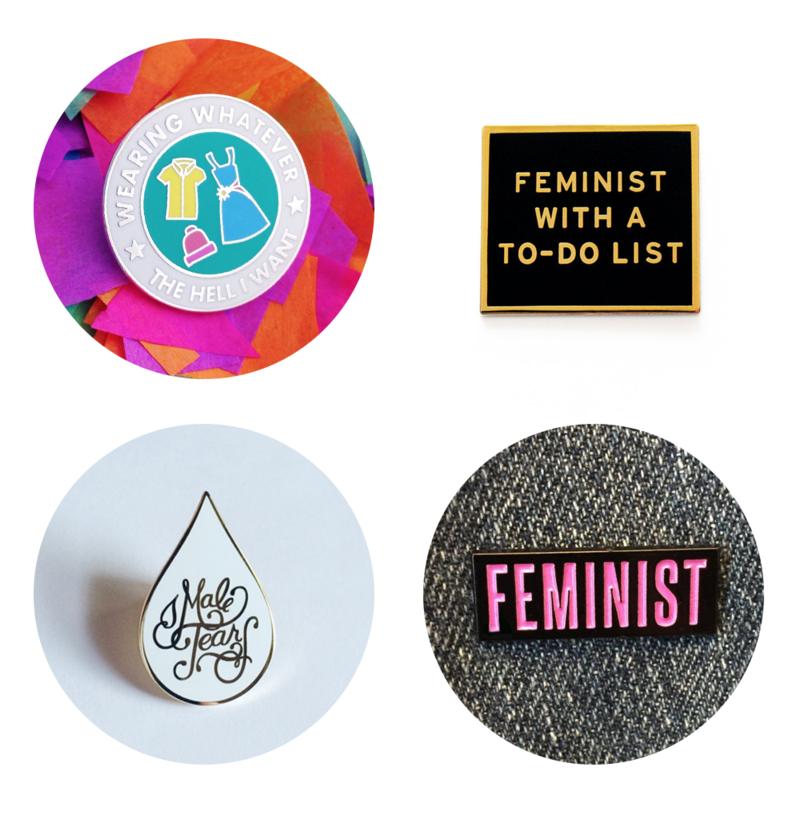 Feminist enamel pins
