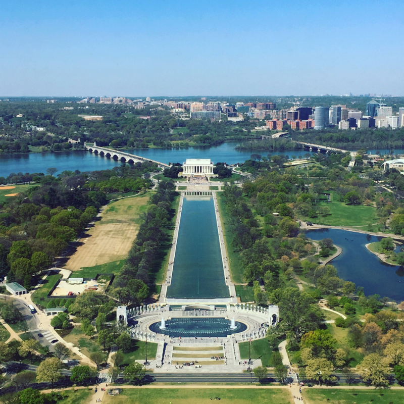 The Lincoln Memorial (viewed from the top of the Washington Memorial)