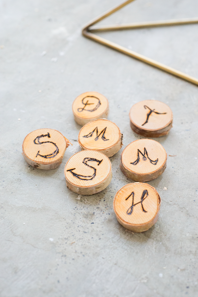 Wood letter pins