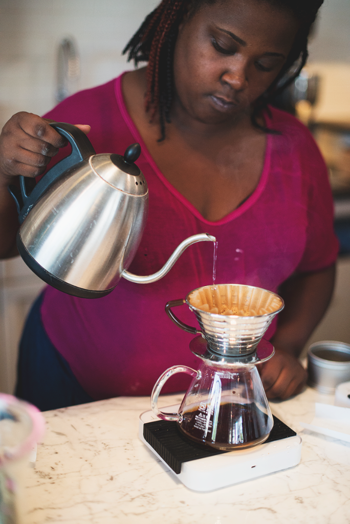 Making coffee at Boxwood Coffee in Summit, NJ