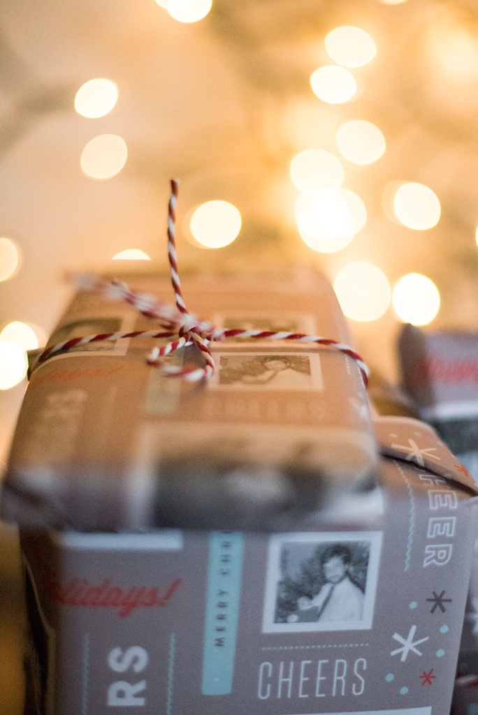 Include black-and-white childhood photos on your wrapping paper this Christmas