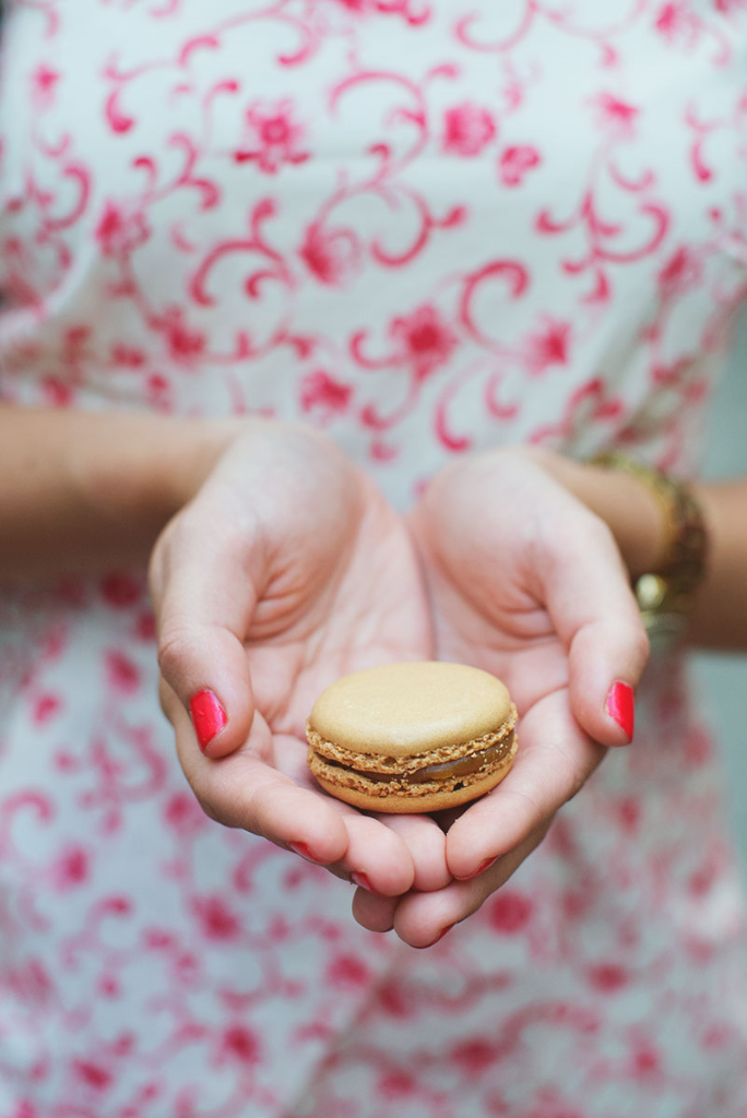 A caramel French macaron from Laduree in New York City