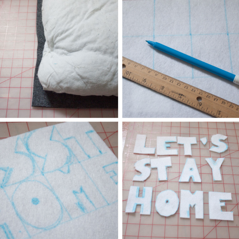 "Sew a ""Let's Stay Home"" pillow"