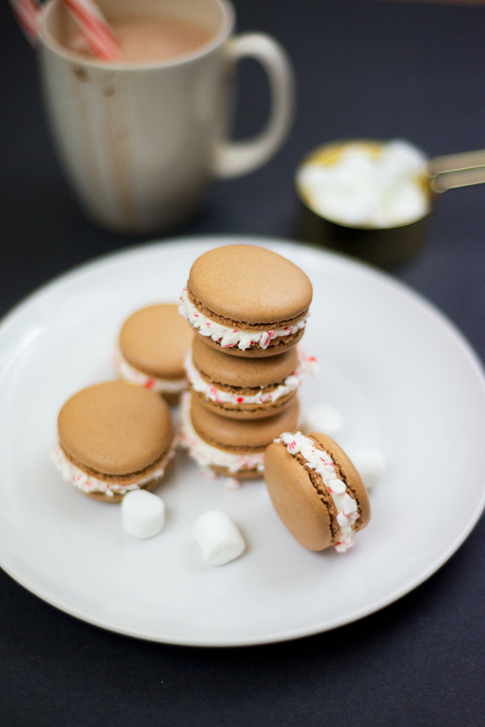 Peppermint hot chocolate French macarons recipe
