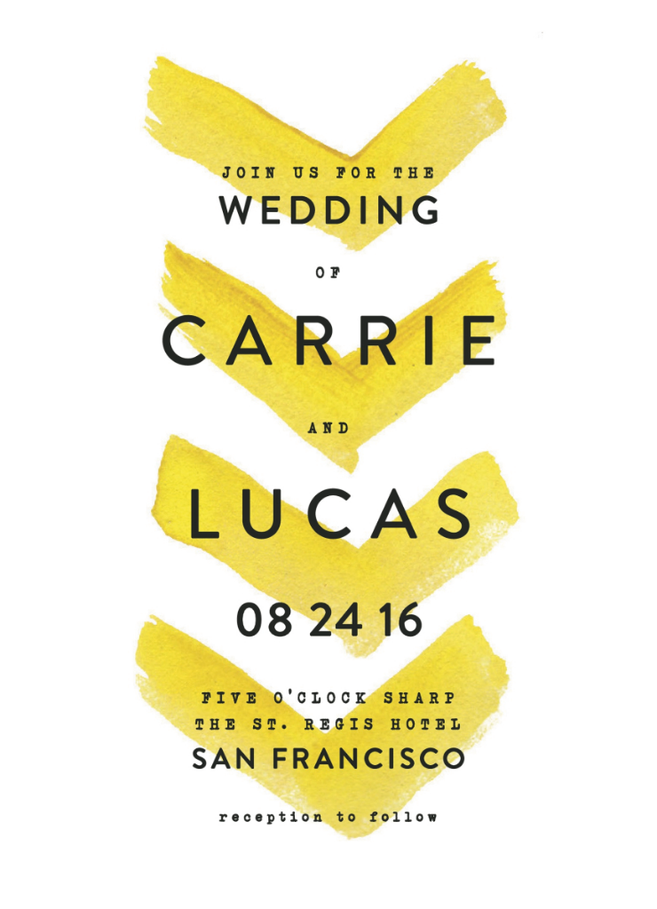Painted chevron wedding invitations