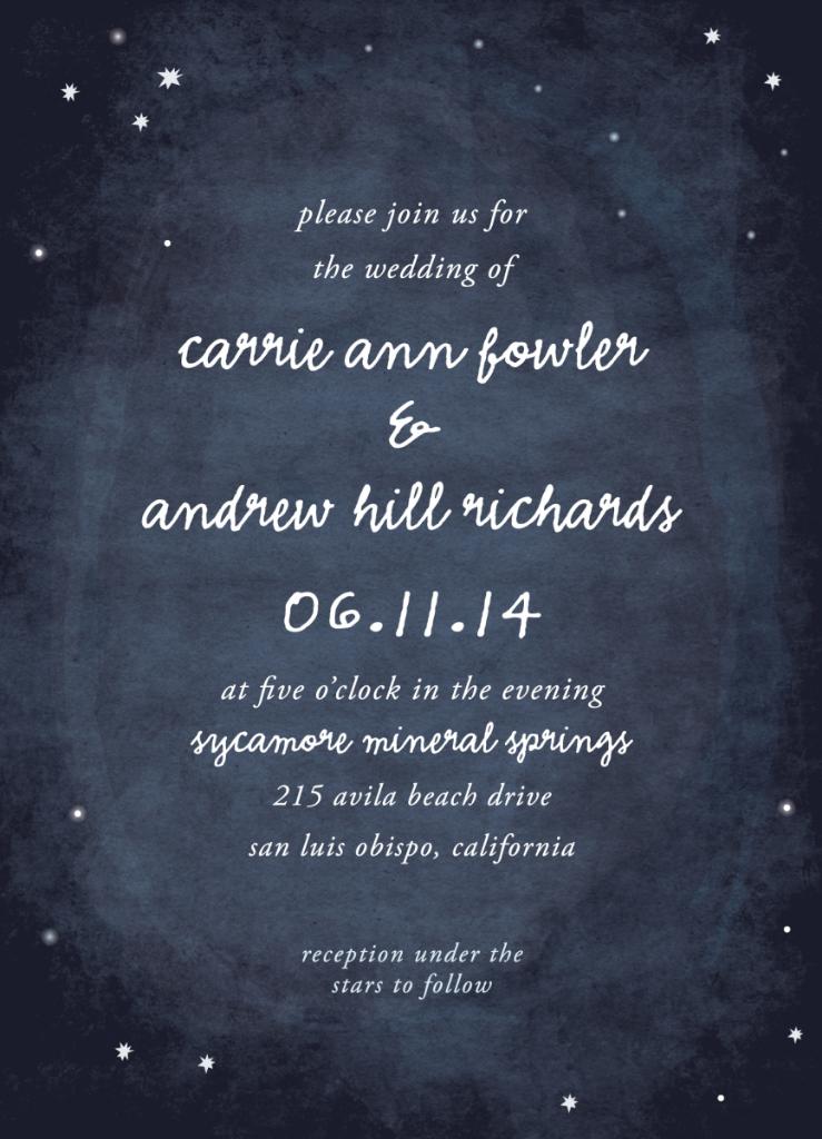 Constellation wedding invitations