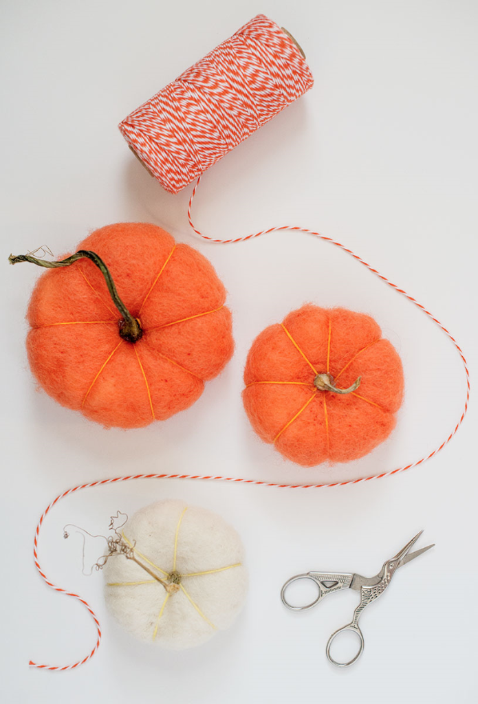 DIY felted pumpkins