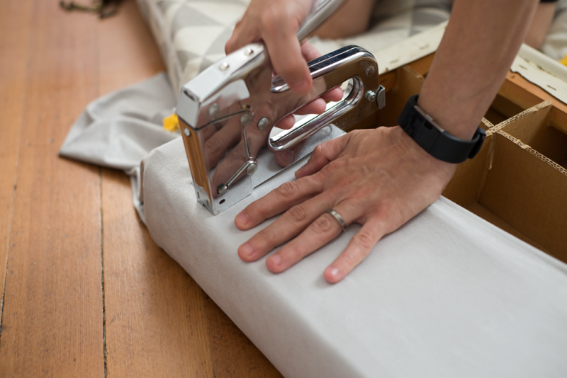 Reupholstering a flea market footstool