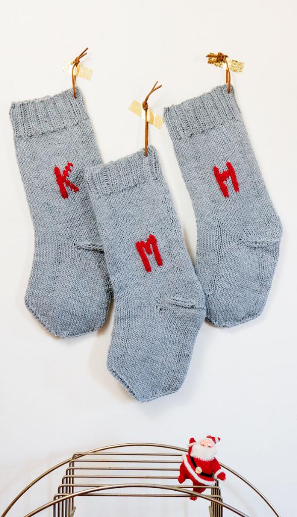 DIY knit monogram Christmas stocking
