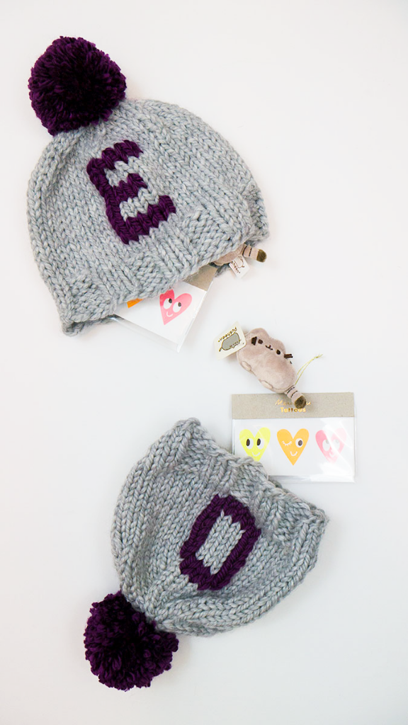 Gift idea: Handmade monogrammed hats hiding tiny presents!