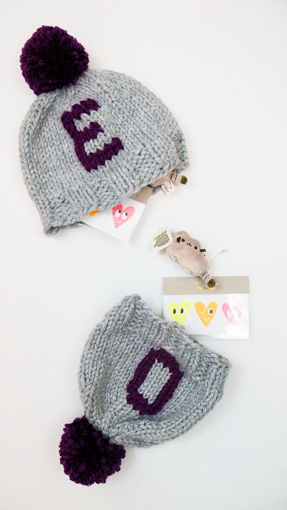 Gift idea: Handmade monogrammed hats hiding tiny presents!