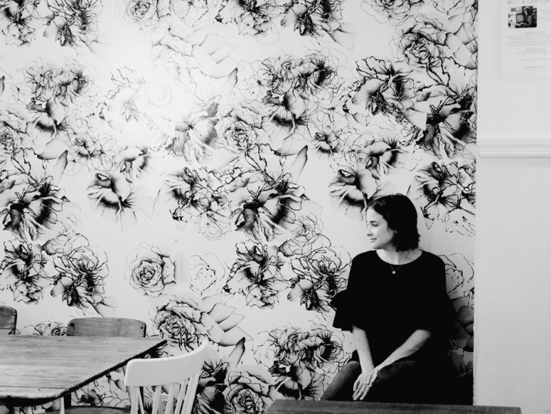 Bold floral wallpaper inside Maman Cafe in New York City
