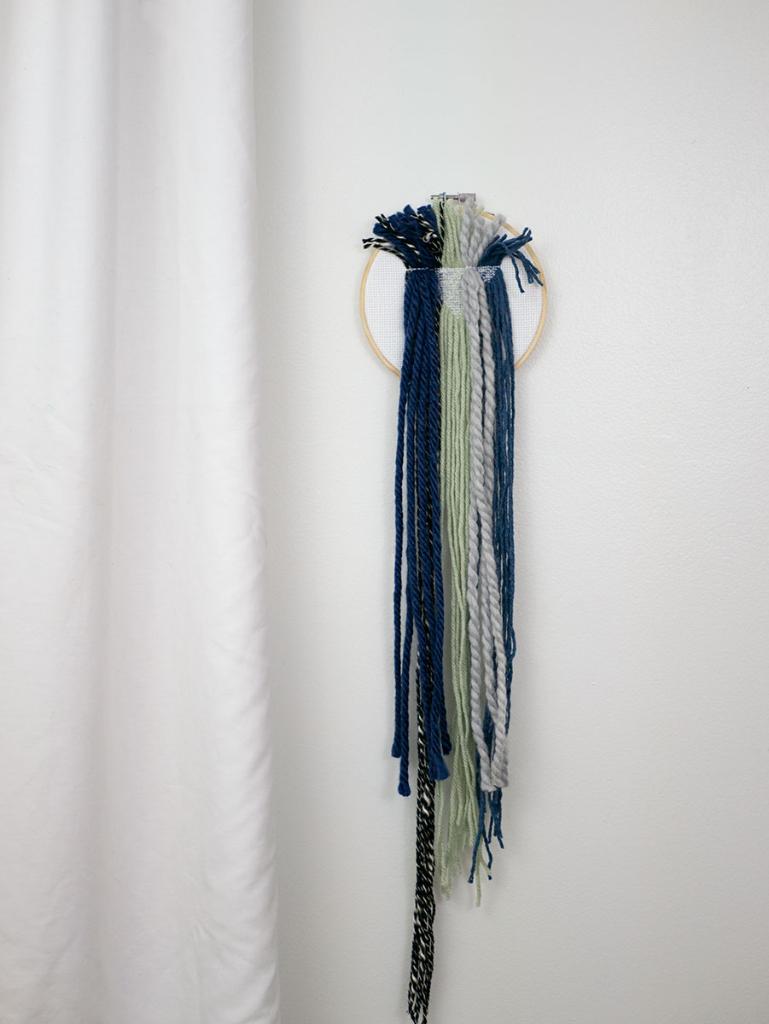 DIY yarn cross stitch wall hanging